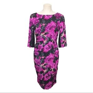 Tracy Reese black and pink floral bodycon dress 6
